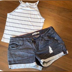 Black denim distress jean shorts
